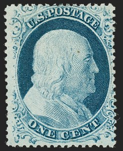 Sale Number 1227, Lot Number 2237, 1c 1857-60 Issue (Scott 18-24)1c Blue, Ty. IV (23), 1c Blue, Ty. IV (23)