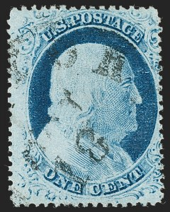 Sale Number 1227, Lot Number 2240, 1c 1857-60 Issue (Scott 18-24)1c Blue, Ty. IV, Triple Transfer, One Inverted (23 var), 1c Blue, Ty. IV, Triple Transfer, One Inverted (23 var)
