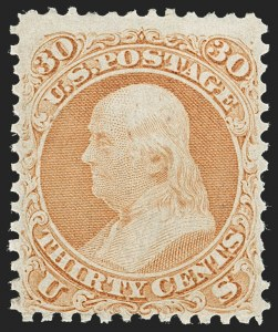 Sale Number 1227, Lot Number 2326, 1861-66 Issue (Scott 56-78)30c Orange (71), 30c Orange (71)