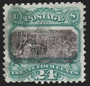 Sale Number 1227, Lot Number 2660, 1869 Pictorial Issue Inverts (Proofs, Scott 119b, 120b, 121b)24c Green & Violet, Center Inverted (120b), 24c Green & Violet, Center Inverted (120b)