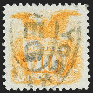Sale Number 1227, Lot Number 2678, 1875 Re-Issue of 1869 Pictorial Issue (Scott 123-133a)10c Yellow, Re-Issue (127), 10c Yellow, Re-Issue (127)