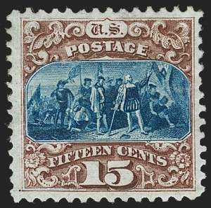 Sale Number 1227, Lot Number 2681, 1875 Re-Issue of 1869 Pictorial Issue (Scott 123-133a)15c Brown & Blue, Re-Issue (129), 15c Brown & Blue, Re-Issue (129)