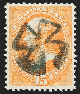 Sale Number 1227, Lot Number 2705, Fancy Cancels on the 1869 Pictorial Issue and 1870-88 Bank Notes Issues15c Bright Orange (152), 15c Bright Orange (152)