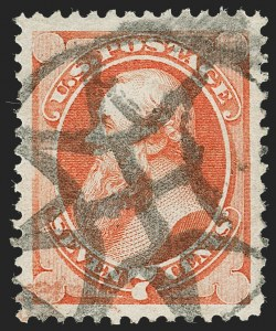 Sale Number 1227, Lot Number 2736, Fancy Cancels on the 1869 Pictorial Issue and 1870-88 Bank Notes Issues7c Orange Vermilion (160), 7c Orange Vermilion (160)