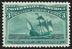 Sale Number 1227, Lot Number 2883, 1c- 50c 1893 Columbian Issue (Scott 230-240)3c Columbian (232), 3c Columbian (232)