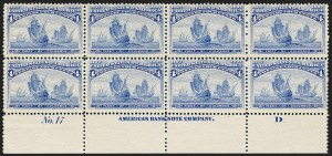 Sale Number 1227, Lot Number 2887, 1c- 50c 1893 Columbian Issue (Scott 230-240)4c Columbian (233), 4c Columbian (233)