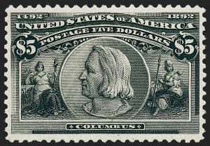 Sale Number 1227, Lot Number 2950, $1.00-$5.00 1893 Columbian Issue (Scott 241-245)$5.00 Columbian (245), $5.00 Columbian (245)