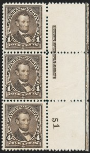 Sale Number 1227, Lot Number 2955, 1894 Unwatermarked Bureau Issue (Scott 246-263)4c Dark Brown (254), 4c Dark Brown (254)