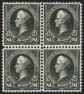 Sale Number 1227, Lot Number 2978, 1895 Watermarked and 1897-1903 Change of Colors Bureau Issues (Scott 264-284)$1.00 Black, Ty. I (276), $1.00 Black, Ty. I (276)