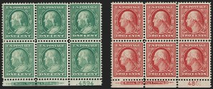 Sale Number 1227, Lot Number 3096, The Dr. Bernard S. Yudowitz Collection of Plate Blocks (Scott 300-423)1c Green, 2c Carmine, Bluish (357-358), 1c Green, 2c Carmine, Bluish (357-358)
