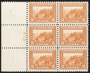 Sale Number 1227, Lot Number 3107, The Dr. Bernard S. Yudowitz Collection of Plate Blocks (Scott 300-423)10c Panama-Pacific, Perf 10 (404), 10c Panama-Pacific, Perf 10 (404)