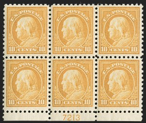 Sale Number 1227, Lot Number 3126, The Dr. Bernard S. Yudowitz Collection of Plate Blocks (Scott 432-834)10c Orange Yellow (472), 10c Orange Yellow (472)