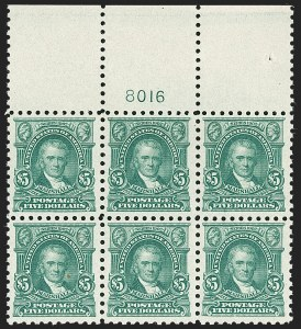 Sale Number 1227, Lot Number 3132, The Dr. Bernard S. Yudowitz Collection of Plate Blocks (Scott 432-834)$5.00 Light Green (480), $5.00 Light Green (480)