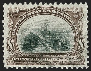Sale Number 1227, Lot Number 3209, 1901 Pan-American Issue Including Inverts (Scott 294-299)8c Pan-American (298), 8c Pan-American (298)