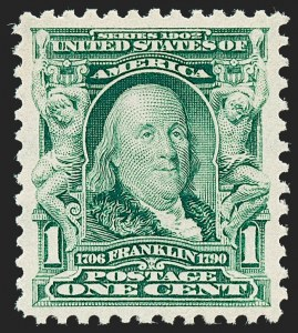 Sale Number 1227, Lot Number 3213, 1902-08 Issues (Scott 300-313)1c Blue Green (300), 1c Blue Green (300)