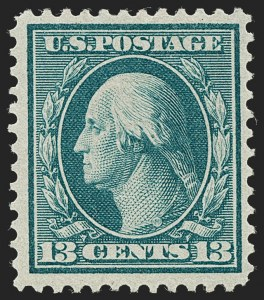 Sale Number 1227, Lot Number 3338, 1909 Bluish Paper Issue, 1909 Commemoratives (Scott 357-373)13c Bluish Green, Bluish (365), 13c Bluish Green, Bluish (365)