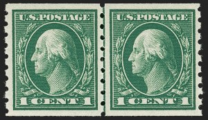 Sale Number 1227, Lot Number 3385, 1912-14 Washington-Franklin Issues (Scott 405-423)1c Green, Coil (412), 1c Green, Coil (412)