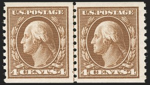 Sale Number 1227, Lot Number 3409, 1913-15 Washington-Franklin Issues (Scott 424-447)4c Brown, Coil (446), 4c Brown, Coil (446)