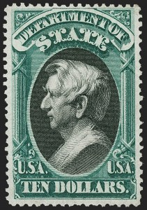 Sale Number 1227, Lot Number 3712, Officials$10.00 State (O70), $10.00 State (O70)