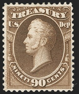 Sale Number 1227, Lot Number 3728, Officials90c Treasury, Soft Paper (O113), 90c Treasury, Soft Paper (O113)