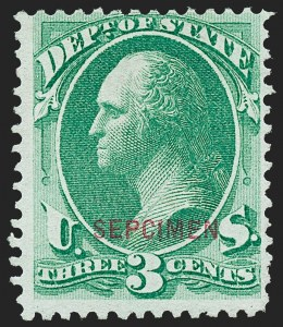 "Sale Number 1227, Lot Number 3731, Officials3c State, ""Sepcimen"" Error (O59Sa), 3c State, ""Sepcimen"" Error (O59Sa)"