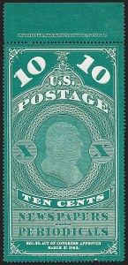 Sale Number 1227, Lot Number 3736, Newspapers and Periodicals (PR4-PR47)10c Dark Bluish Green, 1875 Reprint (PR6), 10c Dark Bluish Green, 1875 Reprint (PR6)