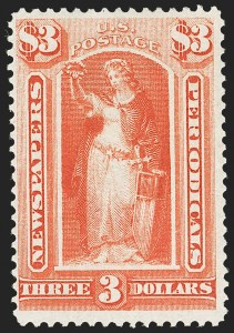 Sale Number 1227, Lot Number 3740, Newspapers and Periodicals (PR4-PR47)$3.00 Vermilion, 1875 Issue (PR25), $3.00 Vermilion, 1875 Issue (PR25)