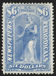 Sale Number 1227, Lot Number 3741, Newspapers and Periodicals (PR4-PR47)$6.00 Ultramarine, 1875 Issue (PR26), $6.00 Ultramarine, 1875 Issue (PR26)