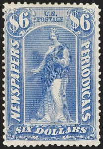 Sale Number 1227, Lot Number 3742, Newspapers and Periodicals (PR4-PR47)$6.00 Ultramarine, 1875 Issue (PR26), $6.00 Ultramarine, 1875 Issue (PR26)