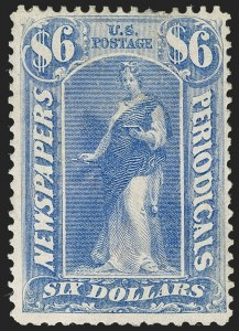 Sale Number 1227, Lot Number 3743, Newspapers and Periodicals (PR4-PR47)$6.00 Ultramarine, 1875 Issue (PR26), $6.00 Ultramarine, 1875 Issue (PR26)
