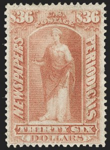 Sale Number 1227, Lot Number 3749, Newspapers and Periodicals (PR4-PR47)$36.00 Brown Rose, 1875 Issue (PR30), $36.00 Brown Rose, 1875 Issue (PR30)