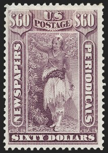Sale Number 1227, Lot Number 3752, Newspapers and Periodicals (PR4-PR47)$60.00 Violet, 1875 Issue (PR32), $60.00 Violet, 1875 Issue (PR32)