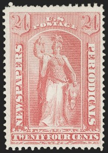 Sale Number 1227, Lot Number 3765, Newspapers and Periodicals (PR4-PR47)24c Pale Rose, 1875 Special Printing (PR41), 24c Pale Rose, 1875 Special Printing (PR41)