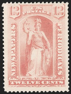 Sale Number 1227, Lot Number 3797, Newspapers and Periodicals (PR66-PR113)12c Pink, 1894 Unwatermarked Bureau Issue (PR95), 12c Pink, 1894 Unwatermarked Bureau Issue (PR95)