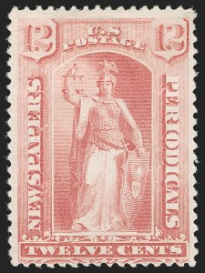 Sale Number 1227, Lot Number 3798, Newspapers and Periodicals (PR66-PR113)12c Pink, 1894 Unwatermarked Bureau Issue (PR95), 12c Pink, 1894 Unwatermarked Bureau Issue (PR95)