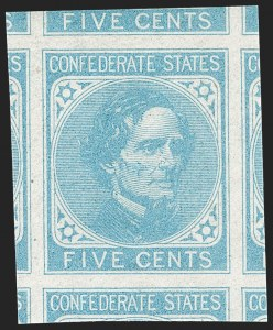 Sale Number 1227, Lot Number 3929, Confederate States5c Light Blue, De La Rue (6), 5c Light Blue, De La Rue (6)