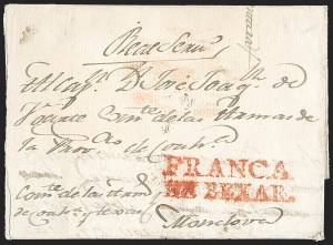 Sale Number 1230, Lot Number 1037, The Sandford N. Arnold Collection of Early Texas Postal HistoryFRANCA EN BEXAR. (later San Antonio Tex.), FRANCA EN BEXAR. (later San Antonio Tex.)