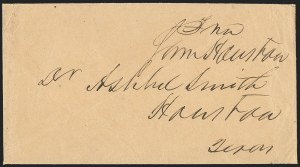 Sale Number 1230, Lot Number 1045, The Sandford N. Arnold Collection of Early Texas Postal HistorySam Houston, Sam Houston