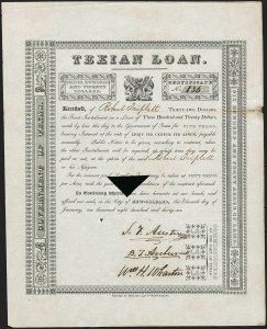 Sale Number 1230, Lot Number 1047, The Sandford N. Arnold Collection of Early Texas Postal HistoryThe Texian Loan, The Texian Loan