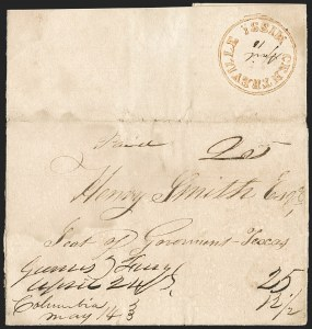 Sale Number 1230, Lot Number 1048, The Sandford N. Arnold Collection of Early Texas Postal History,