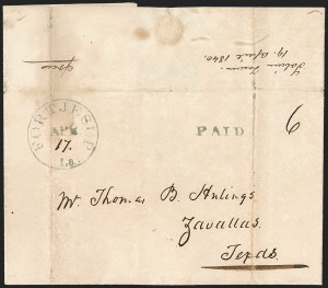 Sale Number 1230, Lot Number 1056, The Sandford N. Arnold Collection of Early Texas Postal History,