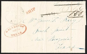 Sale Number 1230, Lot Number 1057, The Sandford N. Arnold Collection of Early Texas Postal HistoryGALVESTON TEXAS SEP 12 (1841), GALVESTON TEXAS SEP 12 (1841)