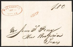Sale Number 1230, Lot Number 1058, The Sandford N. Arnold Collection of Early Texas Postal HistoryGALVESTON TEXAS SEP 12 (1841), GALVESTON TEXAS SEP 12 (1841)