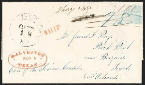 Sale Number 1230, Lot Number 1059, The Sandford N. Arnold Collection of Early Texas Postal HistoryGALVESTON TEXAS NOV. 8 (1841), GALVESTON TEXAS NOV. 8 (1841)