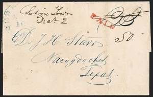 Sale Number 1230, Lot Number 1060, The Sandford N. Arnold Collection of Early Texas Postal History,