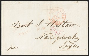 Sale Number 1230, Lot Number 1063, The Sandford N. Arnold Collection of Early Texas Postal HistoryGALVESTON TEXAS JAN. 6 (1846), GALVESTON TEXAS JAN. 6 (1846)