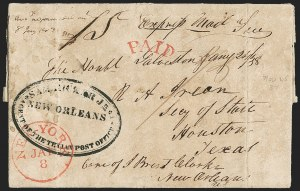 Sale Number 1230, Lot Number 1067, The Sandford N. Arnold Collection of Early Texas Postal History1837, London, England, to Houston, Texas, via New York, New Orleans and Galveston, 1837, London, England, to Houston, Texas, via New York, New Orleans and Galveston