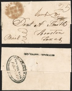 Sale Number 1230, Lot Number 1073, The Sandford N. Arnold Collection of Early Texas Postal HistorySAM RICKER JR., NEW ORLEANS, AGENT FOR THE TEXIAN POST OFFICE, SAM RICKER JR., NEW ORLEANS, AGENT FOR THE TEXIAN POST OFFICE