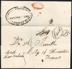Sale Number 1230, Lot Number 1075, The Sandford N. Arnold Collection of Early Texas Postal HistorySAM RICKER JR., NEW ORLEANS, AGENT FOR THE TEXIAN POST OFFICE, SAM RICKER JR., NEW ORLEANS, AGENT FOR THE TEXIAN POST OFFICE