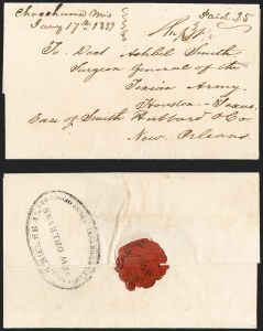 Sale Number 1230, Lot Number 1076, The Sandford N. Arnold Collection of Early Texas Postal HistorySAM RICKER JR., NEW ORLEANS, AGENT OF THE TEXIAN POST OFFICE, SAM RICKER JR., NEW ORLEANS, AGENT OF THE TEXIAN POST OFFICE